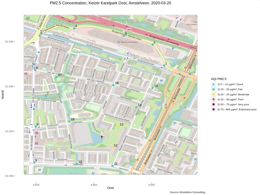 Measurement locations and PM2.5 Air Quality Index 2020-03-20